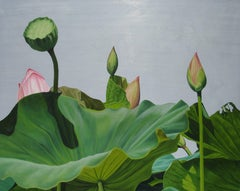 Lotus Number Two (Realist Floral Still Life Painting of Lotus Leaves and Stems)