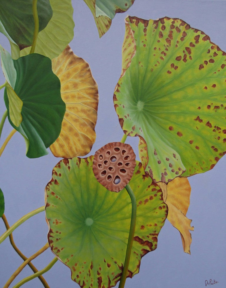 Lotus Number Four (Hard Edge Floral Still Life Painting of Lotus Leaves)