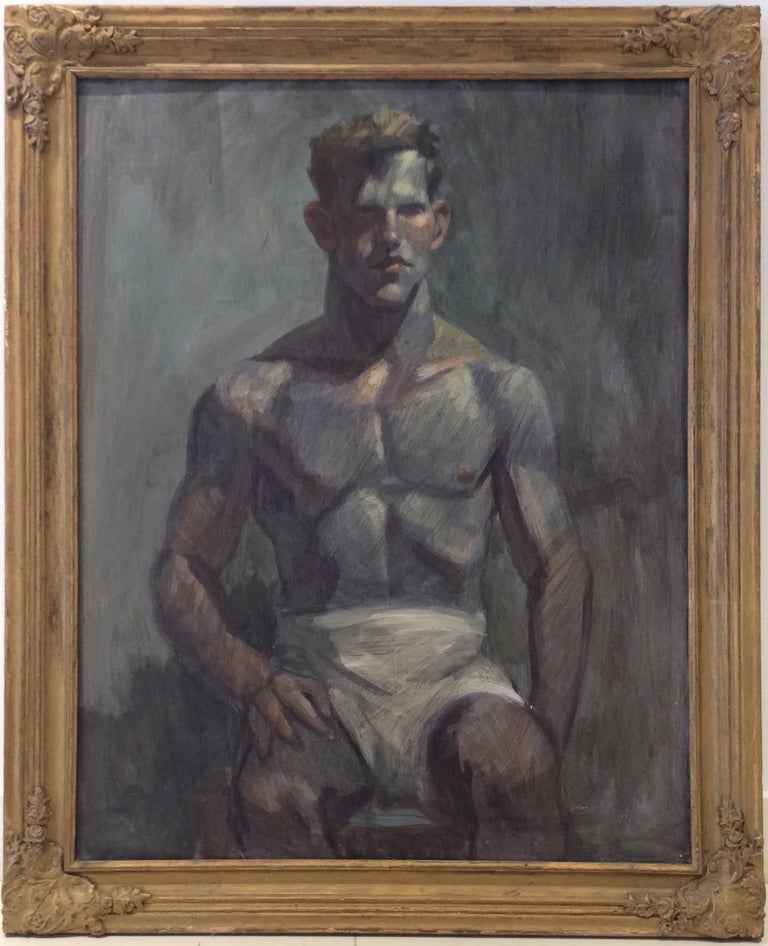 Man in White Shorts (Figurative Oil Painting on Canvas of Seated Male, Framed)