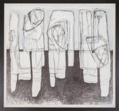 Three Figures (Black & White Abstract Drawing in Contemporary Frame)