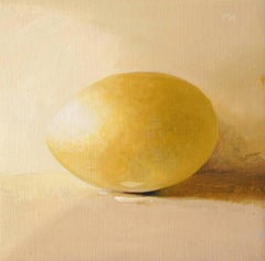 Egg (Small Still Life Painting of a Golden Egg on Light Yellow Background)