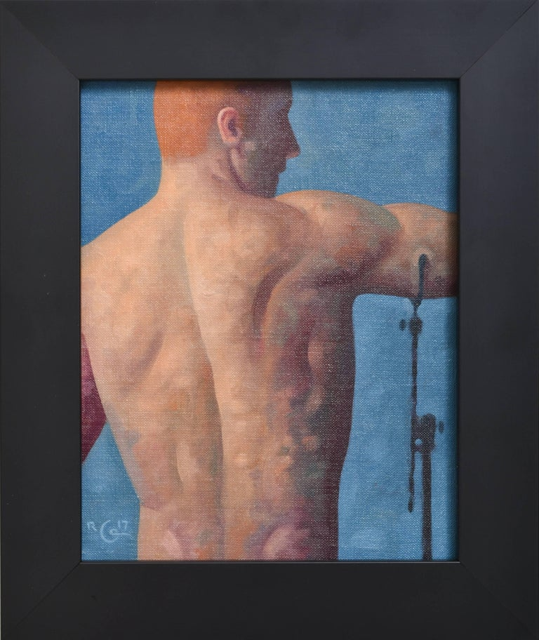 Anatomy Study 16 (Small Figurative Painting, Back of a Male Model on Blue)