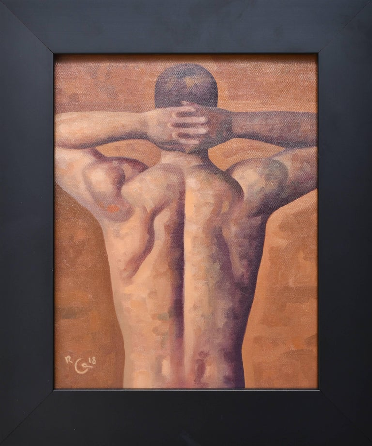 Anatomy Study 37 (Small Figurative Painting of Muscular Male Nude on Brown)