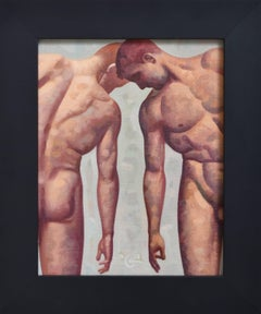 Anatomy Study 35 (Small Figurative Painting of Two Nude Male Models on Green)