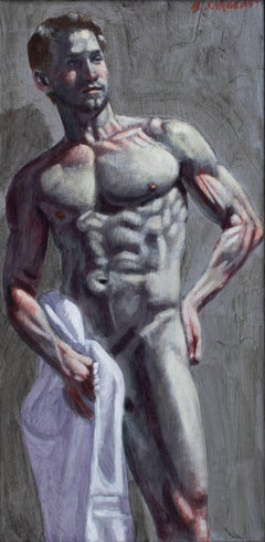Man with Towel (Figurative Oil Painting of Muscular Male Nude with White Towel)
