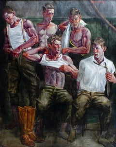 The Locker Room (Large Figurative Painting on Canvas of Athletes & Male Models)