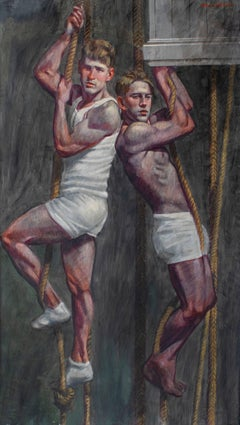 Boys on Ropes (Large Figurative Painting on Canvas of Athletes on Ropes, Framed)