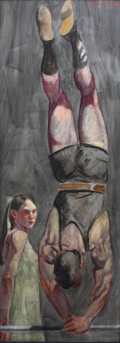 Handstand (Large Figurative Painting on Canvas of an Athlete and a Girl)