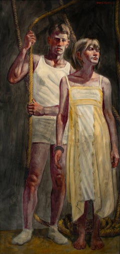 Yellow Dress (Large Figurative Painting on Canvas of an Athlete and a Girl)