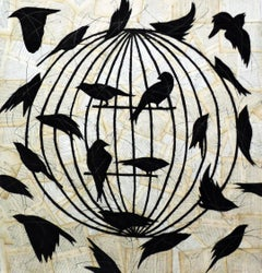 La Cage d'un Fou (Figurative Chalk Drawing of Black Birds on Vintage Book Pages)