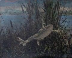 Frog in a Landscape (Large Pondside Figurative Painting on Canvas of a Frog)