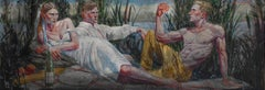 The Picnic (Large Figurative Painting on Canvas of Two Men and a Woman)