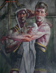 The Wrestlers (Large Figurative Painting on Canvas of Athletes, Framed)