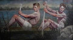 Two Rowers (Large Figurative Painting on Canvas of Athletes, Framed)
