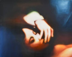Fragile Touch of the Sandman (Figurative Painting on Panel of Woman's Profile)