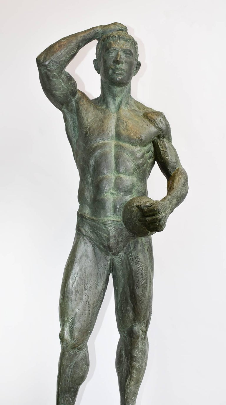 Study of Athlete (with Ball): Academic Bronze Figurative Sculpture of Nude Male