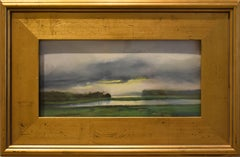 Storm Lifting (Small Landscape Patel on Paper of Maine, Gold Frame)