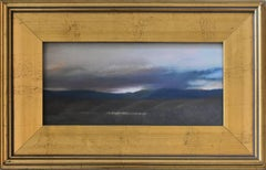 Catskill Sunset (Small Landscape Patel on Paper of Catskill, Gold Frame)