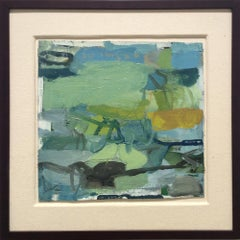 Untitled 60 (Square Abstract Oil Painting on Canvas in Green & Teal Palette)