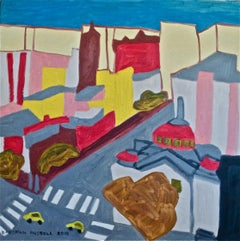 NYC Synagogue (Naive Style Abstracted Landscape in Red, Blue & Yellow)