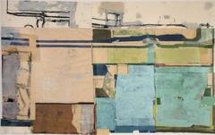 Lexington (Framed Abstract Painting Collage in Blue, Peach & Beige)