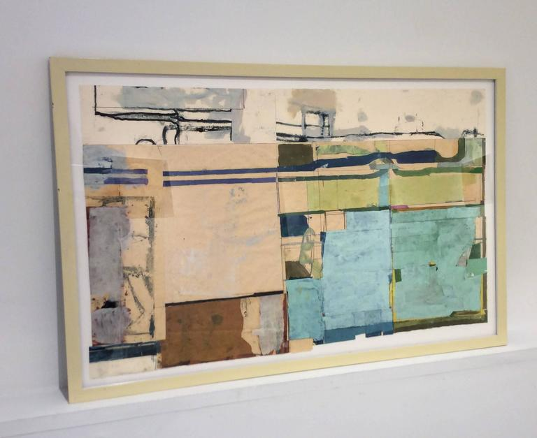 Lexington (Framed Abstract Painting Collage in Blue, Peach & Beige) For Sale 2