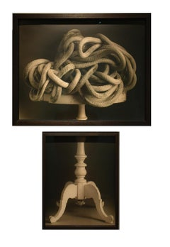 Rope and Side Table (Contemporary Still Life Diptych in Custom Frame )