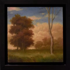 Autumn Trees (Oil Painting of Hudson Valley Landscape of Trees and Clouds)