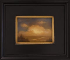 River and Cloud Study (Oil Painting of Hudson Valley Landscape in Vintage Frame)
