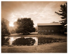 Kline Kill Road (Sepia Toned Pigment Print of a Rural Barn and Pond Scene)