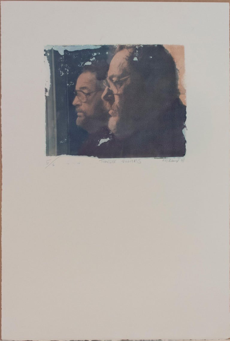 Tennessee Williams (Polaroid Transfer of American Playwright his Reflection) - Photograph by Mark Beard