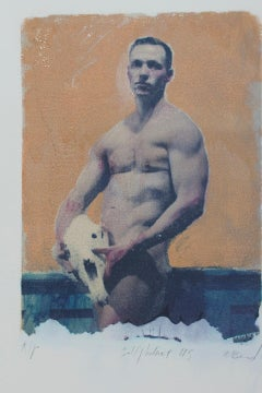 Self Portrait 45 (Polaroid Transfer Young Nude Man with Animal Skull Rives BFK)