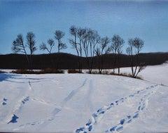 Snow Tracks II (Framed Oil on Canvas Winter Landscape)