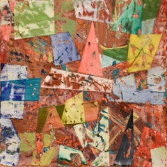 Big Little 118 (Multi-Colored Layered Abstract Geometric Mixed-Media Painting)