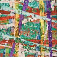 Big Little 112 (Multi-Colored Layered Abstract Geometric Mixed-Media Painting)