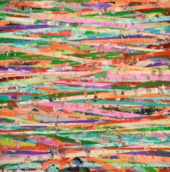 44 Horizon Lines (Modern Colorful Abstract Painting of Horizontal Stripes)