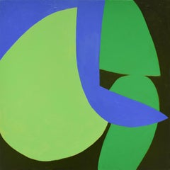 Small #18 (Contemporary Abstract Colorblock Painting in Green, Black, and Blue)