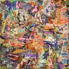 Big Little 120 (Multi-Colored Layered Abstract Geometric Mixed-Media Painting)