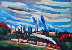 Homeward Bound (Contemporary American painting of Train Rolling Past the City)