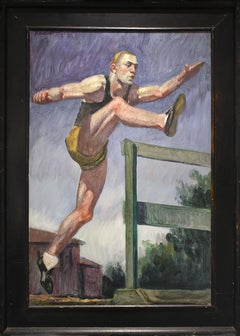 Jumping the Hurdles (Figurative Oil Painting of Athlete, Framed by Mark Beard)