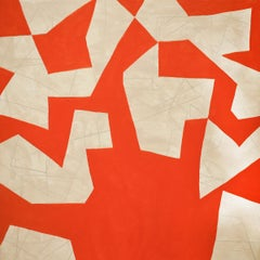Small #3 (Graphic Abstract Geometric Painting on Panel in Orange & Beige)