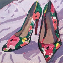 Flower Heels (Colorful Fauvist Style Still Life Painting of Pink & Green Shoes)