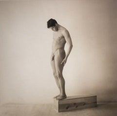 Male Nude, Standing: Sepia Toned Portrait Photograph in Wood Frame