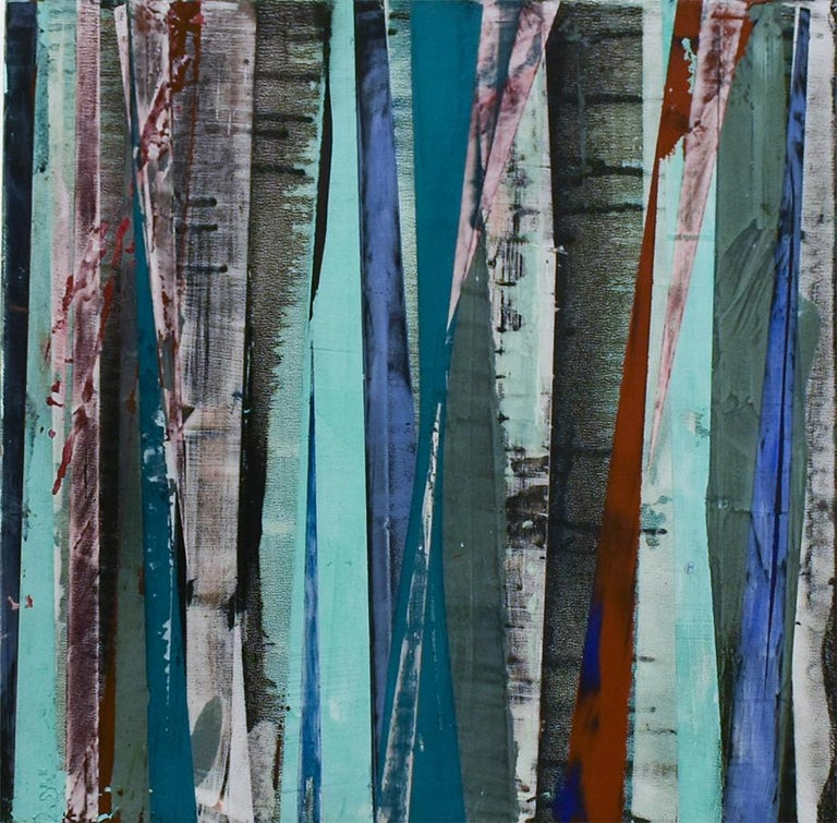 Big Little 117 (Striped Abstract Mixed-Media Painting in Tones of Blue & Red)