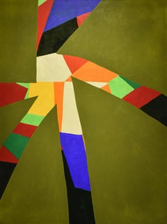 Etoile: Abstract Geometric Painting with Moss Green and Colorful Accents