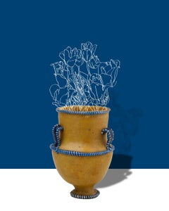 Dark Cerulean (Abstracted Flower Still Life Photograph of Antique Vase on Blue)