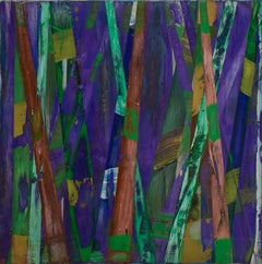 Big Little 122 (Striped Abstract Mixed-Media Painting in Purple Aqua Peach)