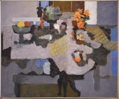 Flowers & Fruit (Abstract Still Life Painting on Canvas, Lionel Gilbert 1970's)