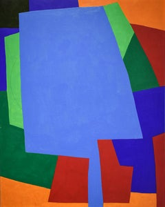 Study 1 (Graphic Abstract Geometric Painting on Panel in Blue, Red, and Green)