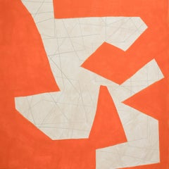 Small #15 (Graphic Abstract Geometric Painting on Panel in Orange & Beige)